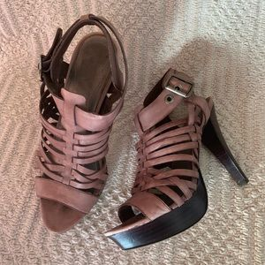 Peep toe Leather Upper Ankle-strap Heels Size 7M
